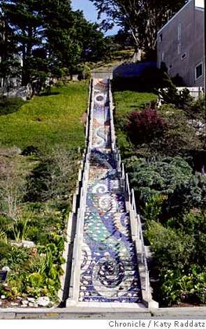 URBAN14  The lovely mosaic staircase which begins on 16th Ave. and Moraga, and leads up to Grandview Park in San Francisco. These pictures were made on Thursday, Feb. 7, 2008, in San Francisco, CA. KATY RADDATZ/The Chronicle MANDATORY CREDIT FOR PHOTOG AND SAN FRANCISCO CHRONICLE/NO SALES-MAGS OUT Photo: KATY RADDATZ
