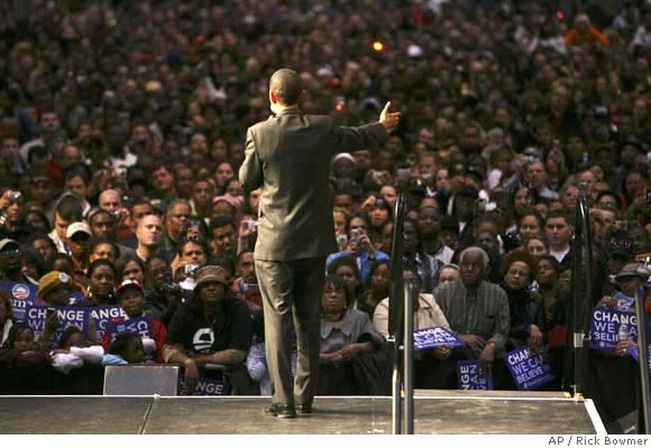 Democratic presidential hopeful, Sen. Barack Obama, D-Ill., speaks at a Stand For Change rally Sunday, Feb. 10, 2008, in Virginia Beach, Va. (AP Photo/Rick Bowmer) Photo: Rick Bowmer
