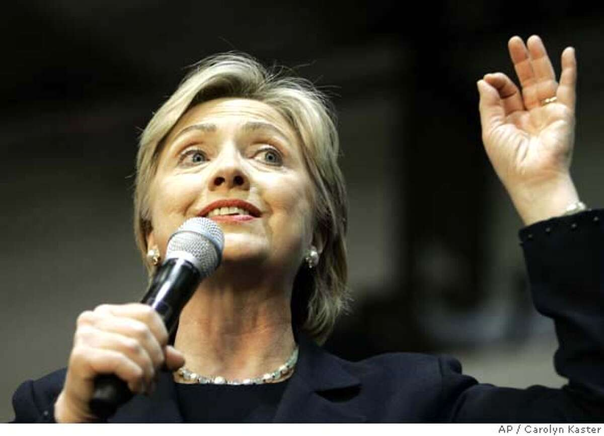 Democratic presidential hopeful, Sen. Hillary Rodham Clinton, D-N.Y., speaks at a campaign stop at Bowie State University in Bowie, Md., Sunday, Feb. 10, 2008. (AP Photo/Carolyn Kaster)