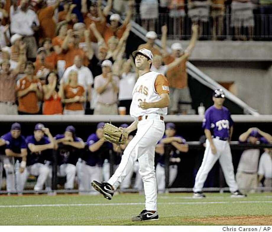 Texas relief pitcher Chance Ruffin reacts after striking out the final TCU batter in Texas' 5-2 win in the NCAA college baseball tournament super regionals in Austin, Texas, Monday, June 8, 2009. Texas advances to the College World Series. (AP Photo/Chris Carson). Photo: Chris Carson, AP