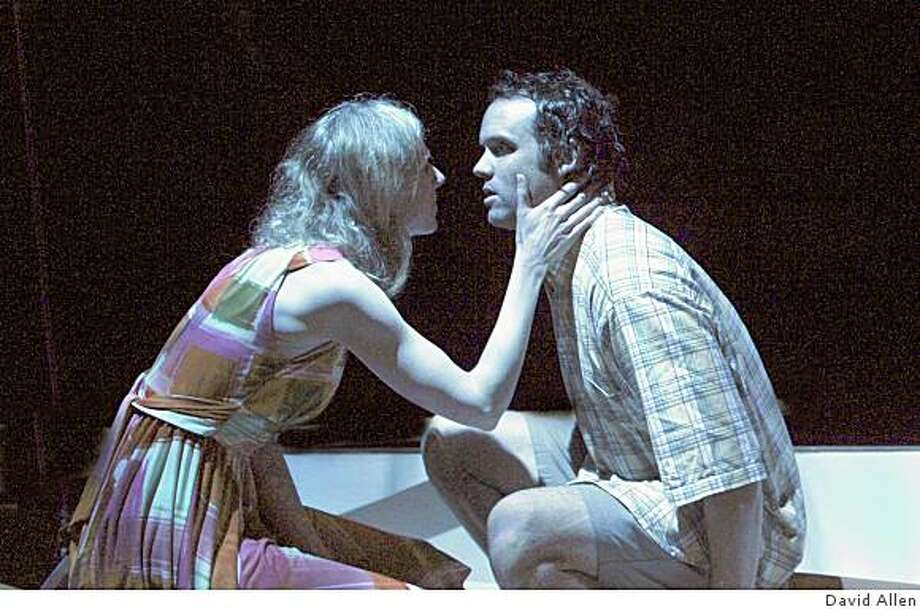 """Beth Wilmurt (left) and Danny Wolohan in """"Jack Goes Boating"""" at the Aurora Theatre. Photo: David Allen"""