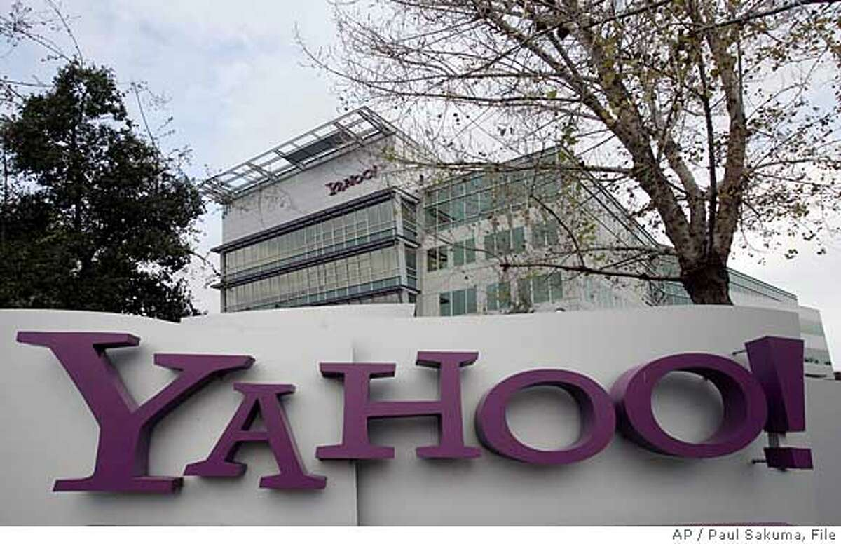*** FILE *** The Yahoo headquarters in Sunnyvale, Calif. is seen Tuesday, Jan. 22, 2008. Microsoft Corp. offered Friday Feb. 1, 2008 to buy search engine operator Yahoo Inc. for $44.6 billion in cash and stock in a move to boost its competitive edge in the online services market. (AP Photo/Paul Sakuma/FILE)