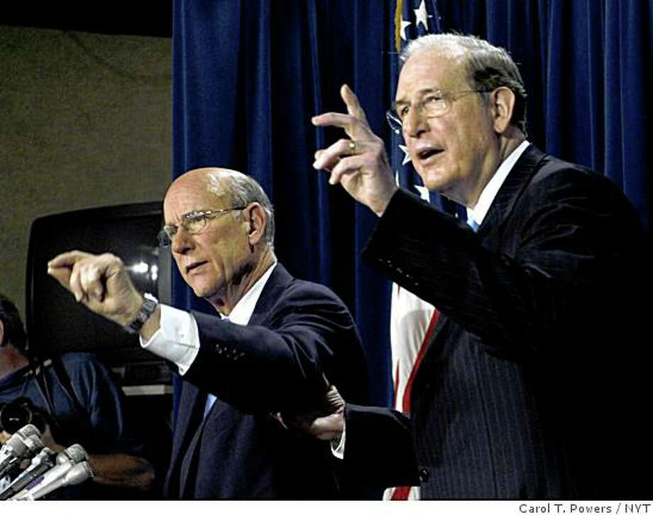NYT42) WASHINGTON -- July 9, 2004 -- IRAQ-REPORT-3 -- Senate Intelligence Committee Chairman Sen. Pat Roberts, left, and Vice Chairman Sen. Jay Rockefeller, during a press conference in Washington to discuss the issuance of the committee's report on pre-Iraq war intelligence failures released Friday July 9, 2004. The Central Intelligence Agency greatly overestimated the danger presented by deadly unconventional weapons in Iraq because of runaway assumptions that were never sufficiently challenged, the Photo: Carol T. Powers, NYT