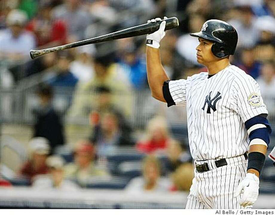 NEW YORK - JUNE 18:  Alex Rodriguez #13 of the New York Yankees slams his bat to the ground  after striking out against the Washington Nationals during their game on June 18, 2009 at Yankee Stadium in the Bronx Borough of New York City.  (Photo by Al Bello/Getty Images) Photo: Al Bello, Getty Images