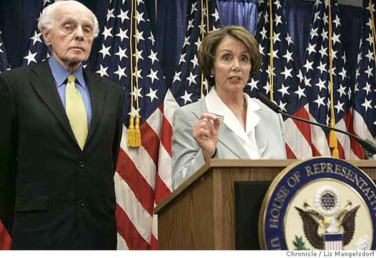 Nancy Pelosi, with Representative Tom Lantos, D-San Mateo, speaks to the media about their trip to the Mideast. Chronicle photo, 2007, by Liz Mangelsdorf