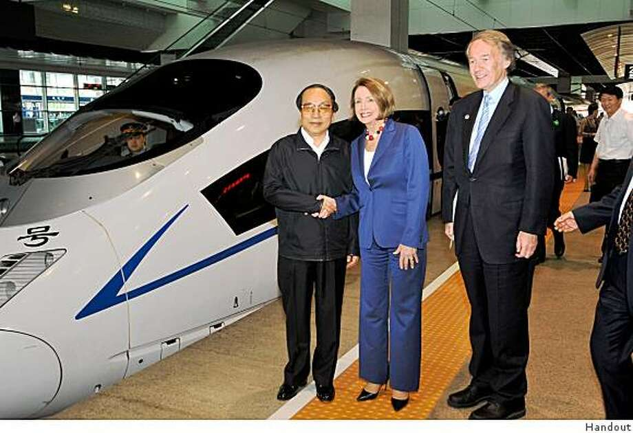 Speaker Nancy Pelosi and U.S. Rep. Ed Markey took a high-speed train from Beijing to Tianjin, China.  The train, which opened last year, can travel more than 200 mph and carries more than 100,000 passengers per day. Pelosi and Markey were in China to discuss climate change with Chinese leaders. Photo: Handout