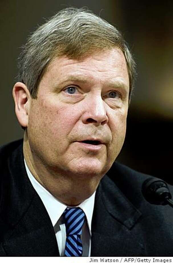 Former Iowa Governor Tom Vilsack speaks during his confirmation hearing on the nomination of Secretary of Agriculture on Capitol Hill in Washington, DC, January 14, 2009.                     AFP PHOTO/Jim WATSON (Photo credit should read JIM WATSON/AFP/Getty Images) Photo: Jim Watson, AFP/Getty Images