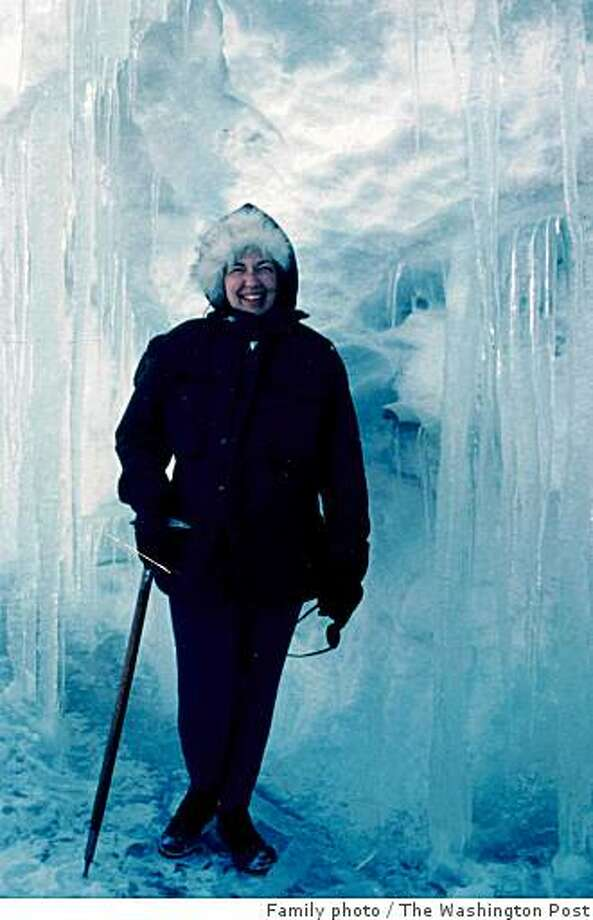 """Edith """"Jackie"""" Ronne, who died Sunday, was photographed in an ice cave on a return trip to Antarctica in 1971. Ronne was the first U.S. woman to set foot on Antarctica. Illustrates RONNE-OBIT (category a), by Patricia Sullivan (c) 2009, The Washington Post. Moved Wednesday, June 17, 2009. (MUST CREDIT: Family photo.) Photo: Family Photo, The Washington Post"""
