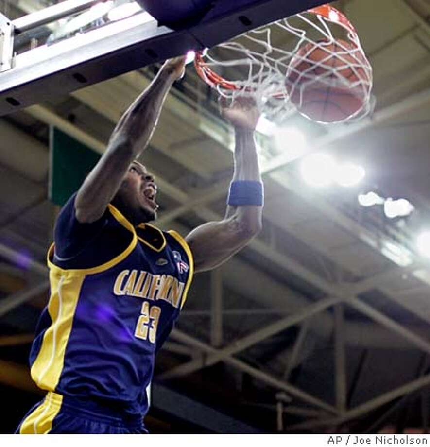 California guard Patrick Christopher (23) dunks on an alley-oop pass against Washington in the second half of a college basketball game, Saturday, Feb. 2, 2008, at Hec Edmundson Pavilion in Seattle. (AP Photo/Joe Nicholson) EFE OUT Photo: Joe Nicholson