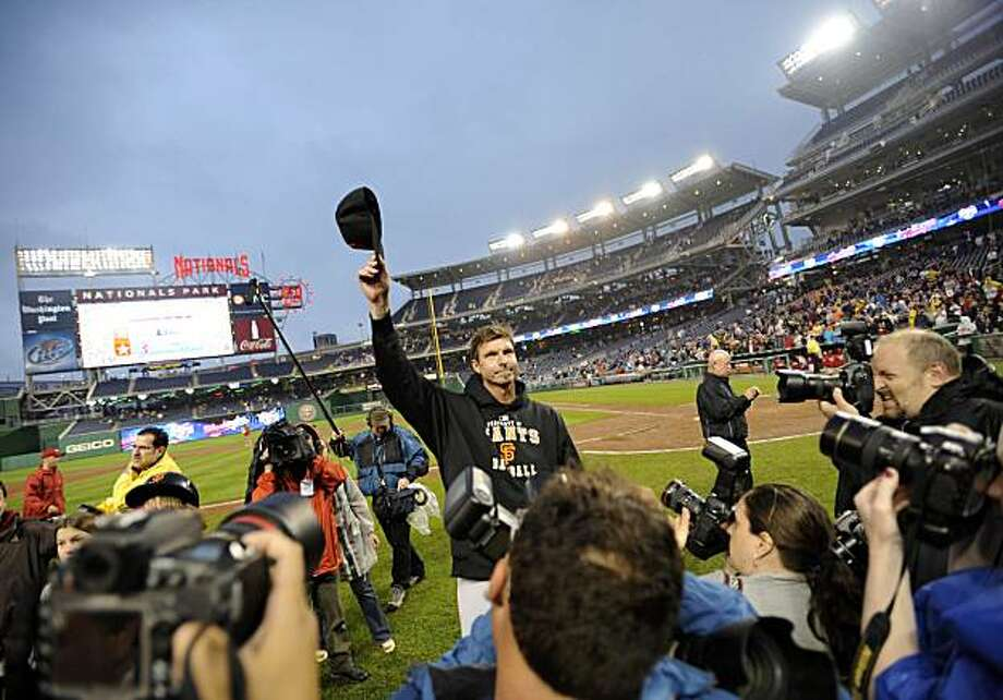 San Francisco Giants starter Randy Johnson acknowledges the crowd after the Giants beat the Washington Nationals 5-1 for his 300th win. Photo: Nick Wass, AP