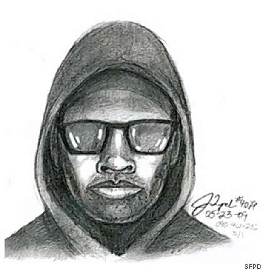 Sketch of a suspect in an April 10, 2009 purse snatching in San Francisco that police believe led to the death of a 63-year-old woman. The victim, Helen Canafax, was pushed to the ground and suffered a broken hip, and died of an apparent blood clot May 2, 2009. Photo: SFPD