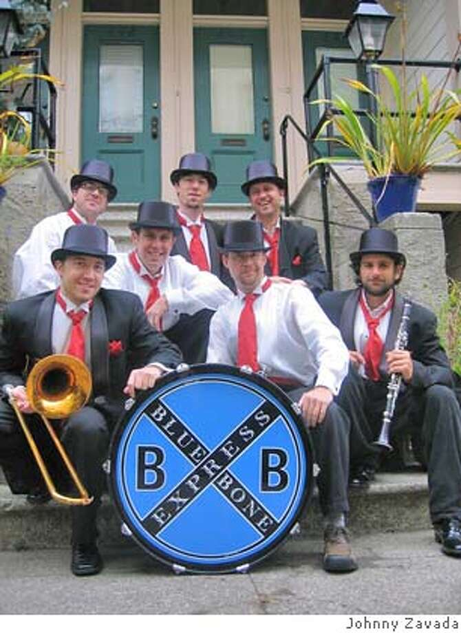 Posing before Carnaval SF 2007, left to right: Jason Freidenfelds (with trombone), Doug Port, Brandon Stasch, Jara Queeto, Jesse Randell, Kevin Brunetti, Jason Ditzian Ran on: 01-31-2008  Jason Freidenfelds (with trombone), and (from left) Doug Port, Brandon Stasch, Jara Queeto, Jesse Randell, Kevin Brunetti and Jason Ditzian are Blue Bone Express.  Ran on: 01-31-2008 Photo: Johnny Zavada