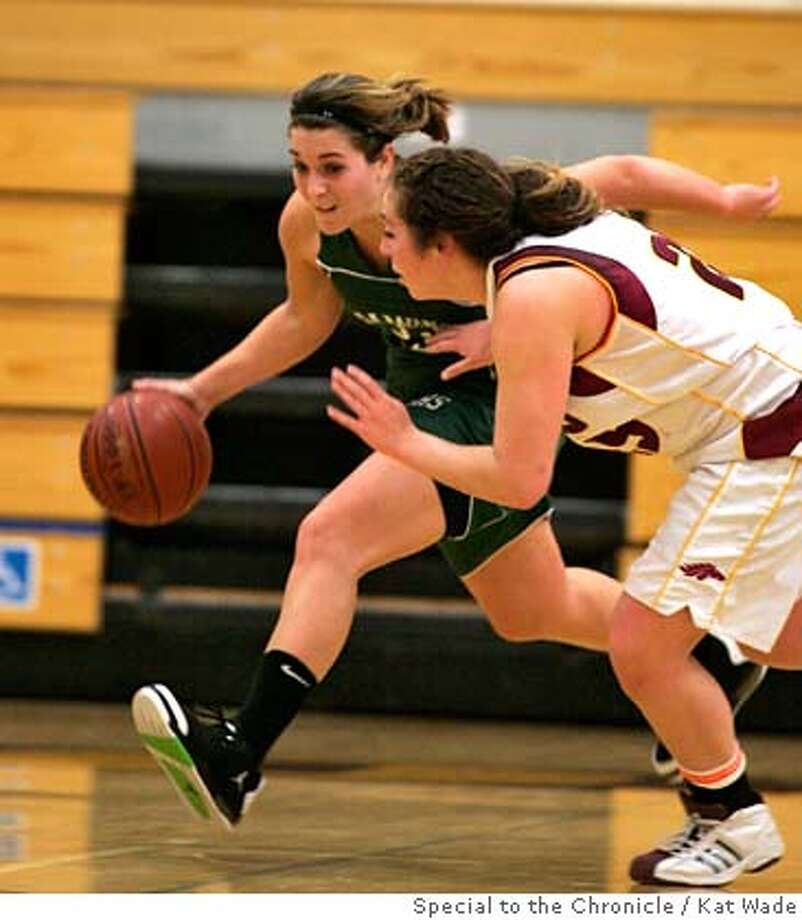 GIRLS09_002.jpg  Miramonte's Katie Batlin, left, drives past Northgate's Kendra Hessel when the 4th ranked Miramonte girl's varsity basketball team beat the 12th-ranked Northgate team at Northgate High School on Friday, February 8, 2008 in Walnut Creek, Calif. 49 to 63. Mandatory Credit for photographer, Kat Wade No Sales/Mags out Photo: Kat Wade