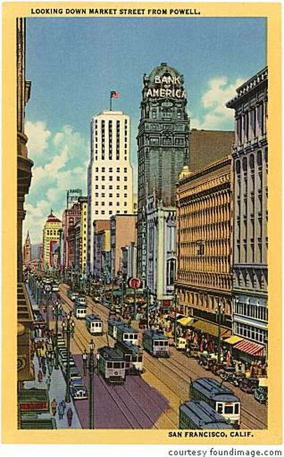 Architecturally, many of Market Street's landmarks haven't changed since the 1920s, when this postcard was created  -- but the city as a whole, certainly has. Photo: Courtesy Foundimage.com, Foundimage.com