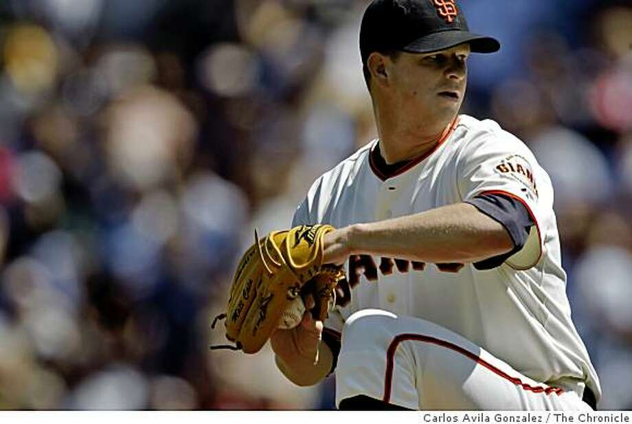 Matt Cain started the game for the Giants and pitched a complete game.  The San Francisco Giants played the Oakland Athletics at AT&T Park in San Francisco, Calif., on Sunday, June 14, 2009. The Giants won the game 6-1, sweeping the Athletics in the interleague series. Photo: Carlos Avila Gonzalez, The Chronicle