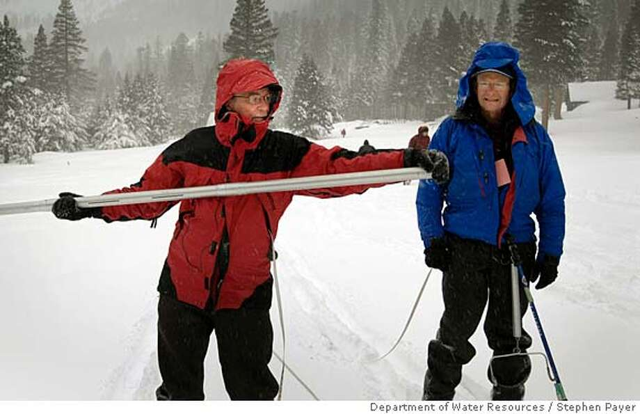 Frank Gehrke, left, and Dave Hart of the California Department of Water Resources assess the snow pack Thursday near Phillips, El Dorado County.  Photo by Stephen Payer, Courtesy Department of Water Resources.  Ran on: 02-01-2008  Frank Gehrke (left) and Dave Hart of the state Department of Water Resources measure the snowpack at historic Phillips Station. Photo: Stephen Payer