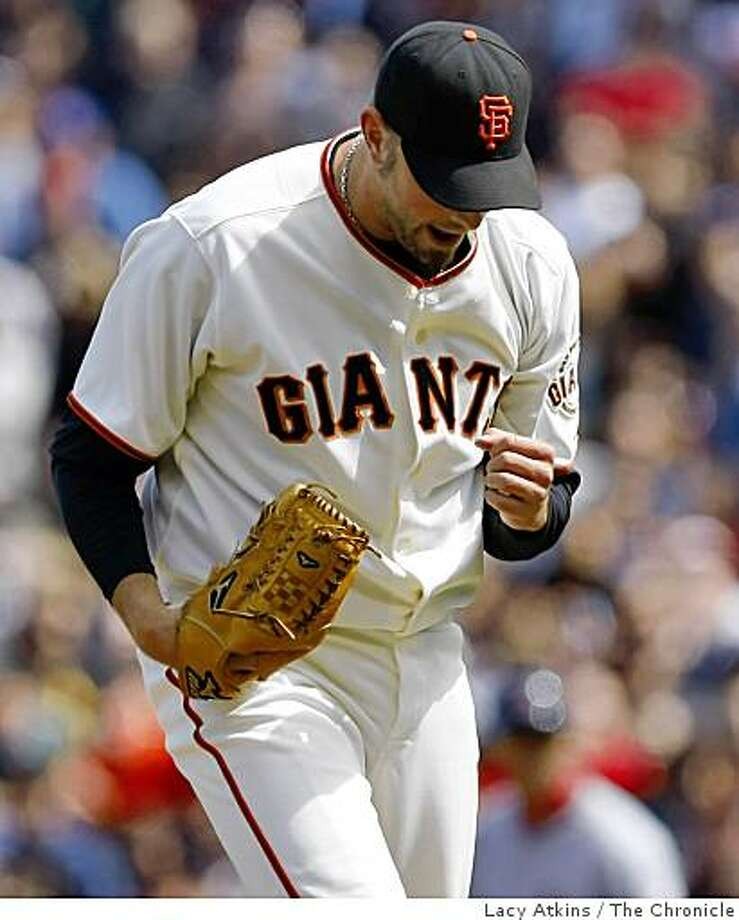 Giants pitcher Jeremy Affeldt reacts after making the third out with St. Louis  Cardinal runners in a scoring position in the eighth inning keeping the Giants ahead, Sunday May 31, 2009, in San Francisco, Calif. Photo: Lacy Atkins, The Chronicle