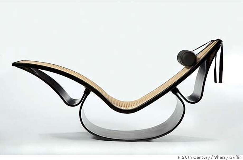 Rio Ebonized Chaise Lounge With Woven Cane Seat And Removable Leather Headrest