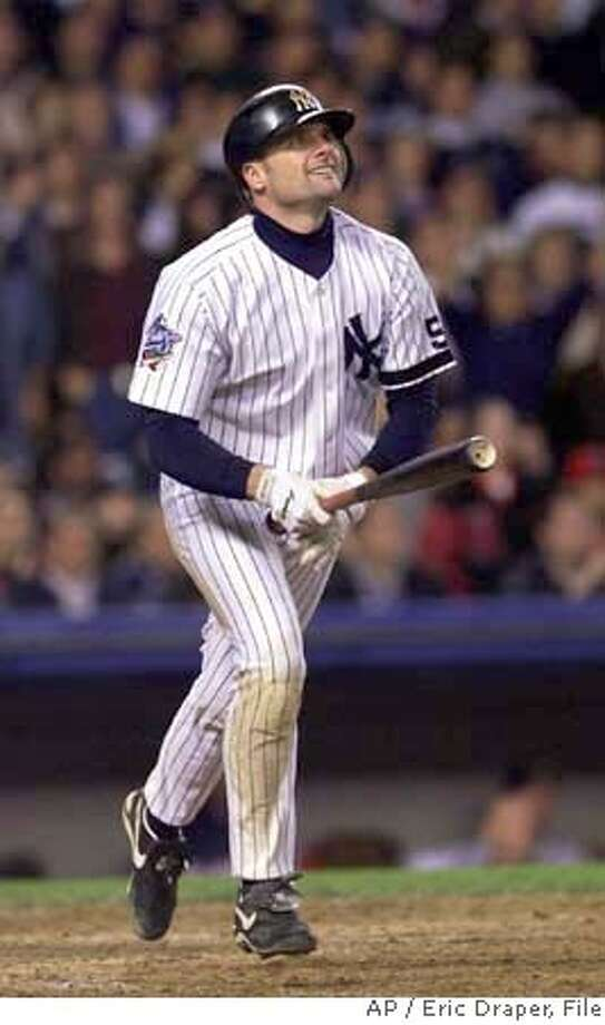 ** FILE ** New York Yankees' Chuck Knoblauch watches his game-tying eighth-inning homer against the Atlanta Braves in game 3 of the World Series in New York in this Oct. 26, 1999 file photo. Knoblauch is being subpoenaed by a congressional committee investigating steroids in baseball after he failed to respond to an invitation to give a deposition on Feb. 13, 2008. (AP Photo/Eric Draper, file) A OCT. 26, 1999 FILE PHOTO EFE OUT Photo: Eric Draper
