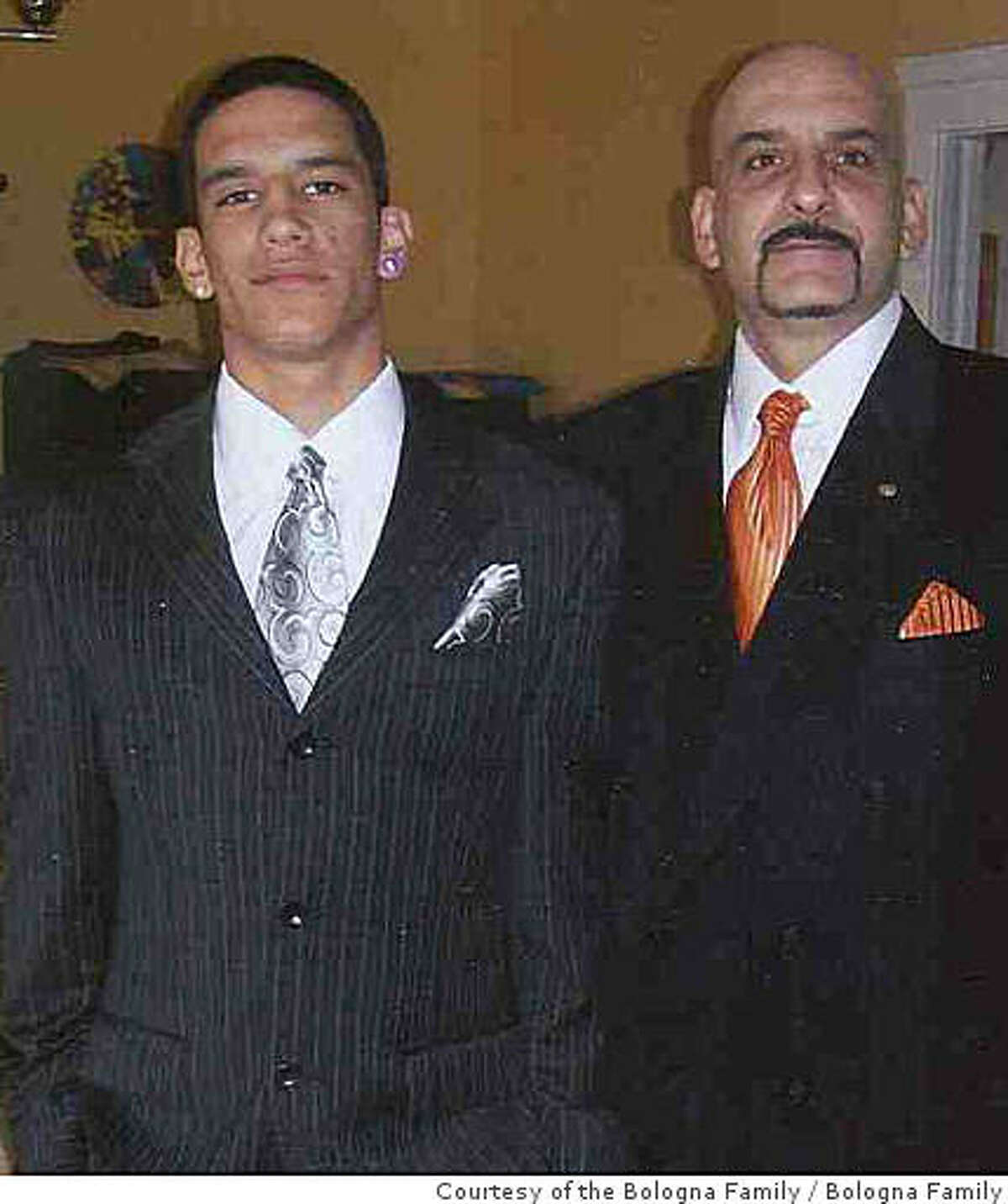 Tony Bologna, right, and his 20-year-old son, Michael, at a family function in 2008. They were slain in their car June 22, 2008, in San Francisco. Courtesy of the Bologna Family.