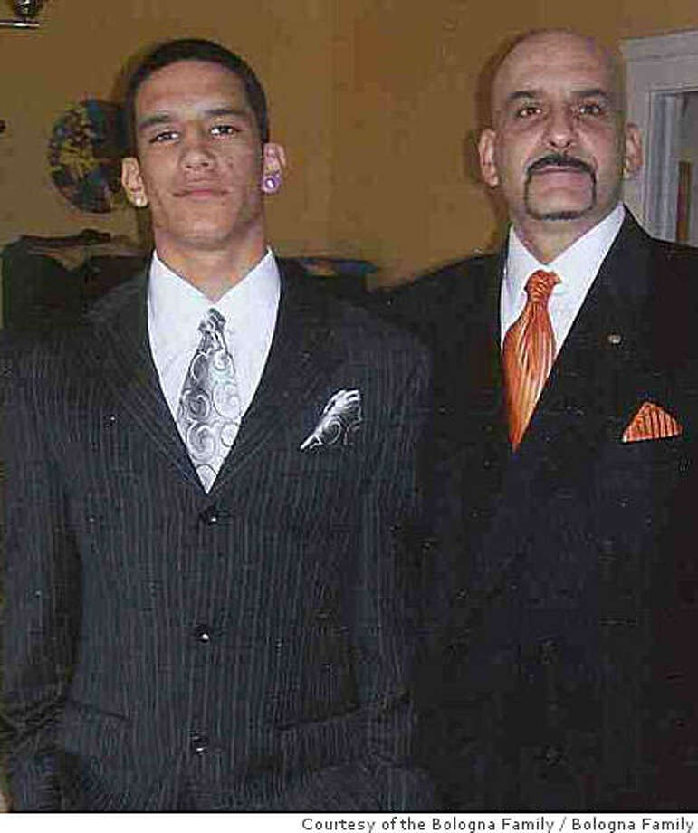 Tony Bologna, right, and his 20-year-old son, Michael, at a family function in 2008. They were slain in their car June 22, 2008, in San Francisco. Courtesy of the Bologna Family. Photo: Courtesy Of The Bologna Family, Bologna Family