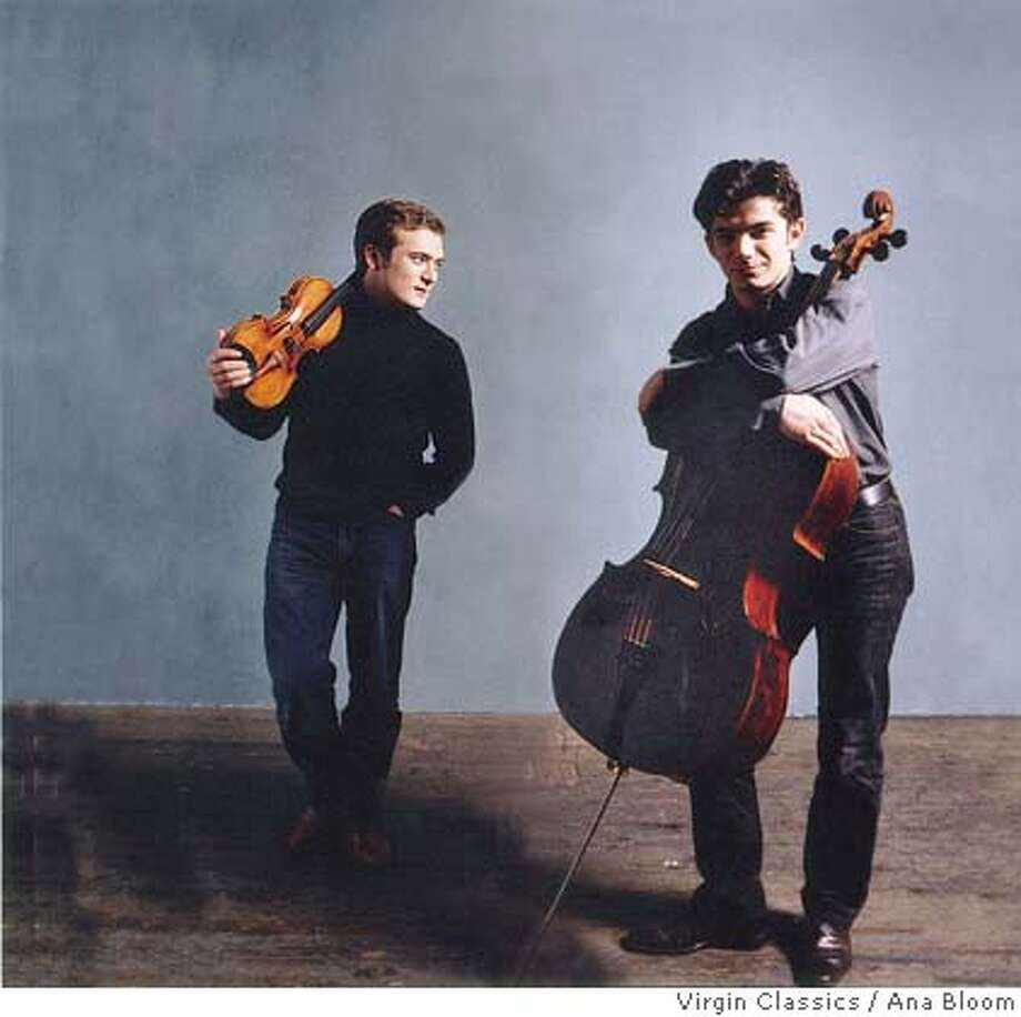 Renaud Capu�on, violin & Gautier Capu�on, cello. San Francisco Performances is presenting violinist Renaud Capu�on & cellist Gautier Capu�on Tuesday, January 31 at 8:00 p.m. at Herbst Theatre. Ran on: 02-02-2006  Renaud Capu�on (left) and Gautier Capu�on play fearlessly.  ALSO Ran on: 12-31-2006  Violinist Renaud Capu�on and cellist Gautier Capu�on: incendiary. Photo: Ana Bloom