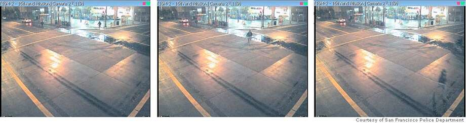 These consecutive images from a surveillance camera at 16th and Mission streets in San Francisco, taken in the early morning of Aug. 6, 2007, show how slowly the camera took pictures of the scene. Photos courtesy of the San Francisco Police Department