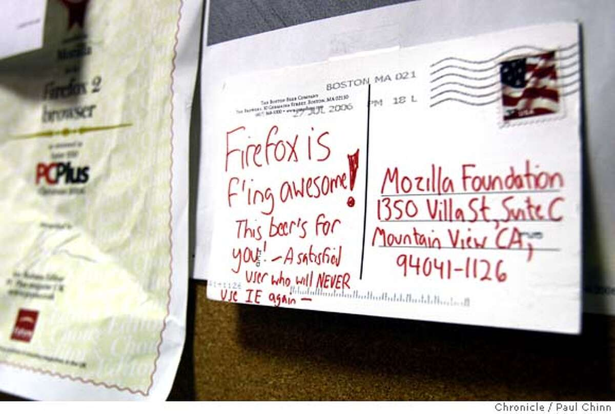 Fan mail from a user is posted on a bulletin board at Mozilla Corp. headquarters in Mountain View, Calif. on Wednesday, Jan. 23, 2008. Mozilla is the creator of the popular Firefox web browser and a byproduct of the old Netscape navigator.