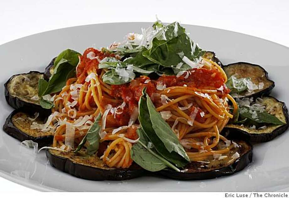 Pasta with eggpalnt photographed in San Francisco photographed on Thursday, June 4, 2009. Photo: Eric Luse, The Chronicle