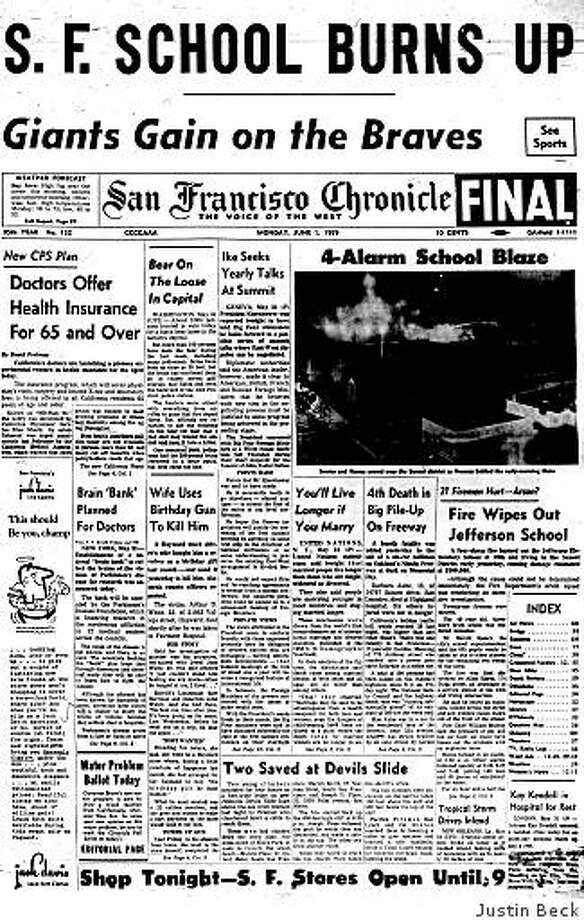 June 1, 1959 ? Investigators are looking into whether an arsonist set fire to an elementary school in the Sunset District of San Francisco. The four-alarm fire had burned out the Jefferson Elementary School at 19th and Irving streets the previous day, causing damage estimated at $300,000 and rendering the school unusable. Twenty-one firemen are reported injured. (Check tomorrow's paper to find out who would admit to starting the blaze.) Photo: Justin Beck