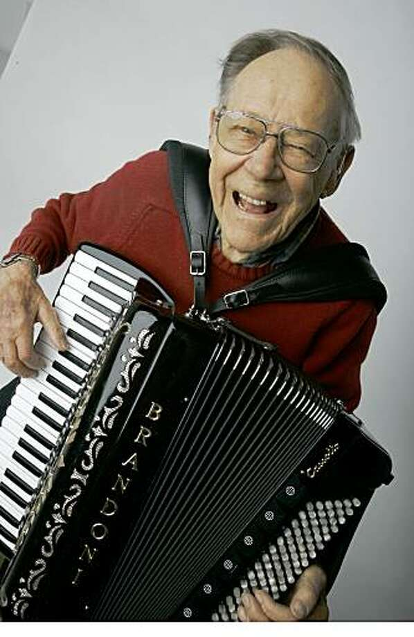 Clyde Forsman, 91, of San Francisco, has been playing the accordion since the fifth grade and been playing in the bay area since 1943 when he moved here to work in the shipyards. He has played solo, with Russian bands, country bands and most recently with local accordion band Those Darn Accordions.