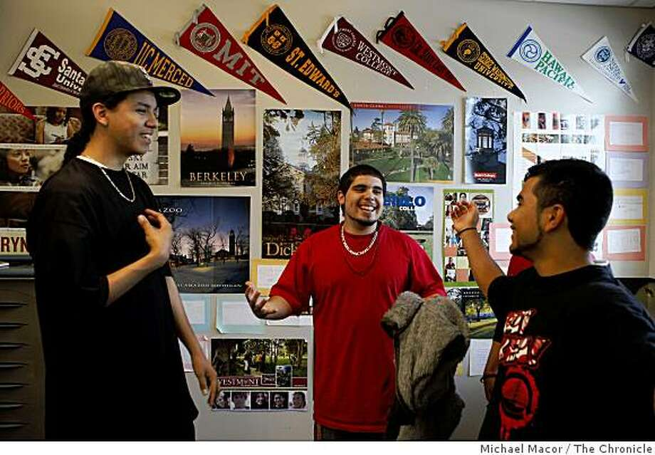 Seniors Alejandro Gutierrez (from left) talks with Victor Carranza and Andrew Cruz on the Eastside College Preparatory campus in East Palo Alto, Calif., on Tuesday, June 9, 2009. Photo: Michael Macor, The Chronicle