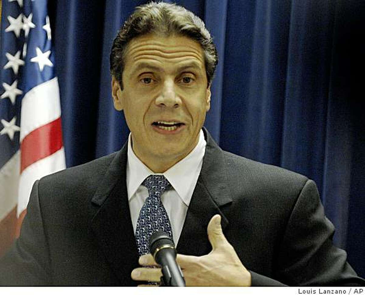 NY Attorney General Andrew Cuomo speaks to the media at his office, Wednesday, Nov.7, 2007, in New York. Cuomo announced that his office has sent Letters of Notice and Demand including subpoenas and demand for an independent examiner to the nation's two largest financiers of home mortgages, Fannie Mae and Freddie Mac. This announcement marks the latest expansion of Cuomo's industry-wide investigation of mortgage fraud.( AP Photo / Louis Lanzano) Ran on: 11-09-2007 New York Attorney General Andrew Cuomo announces an investigation of the nation's two largest financiers of mortgages. Ran on: 01-11-2008 Andrew Cuomo is looking into Intel's sales tactics in New York. ALSO Ran on: 01-27-2008 Andrew Cuomo hopes that new information will help New York's probe of the lending disaster.