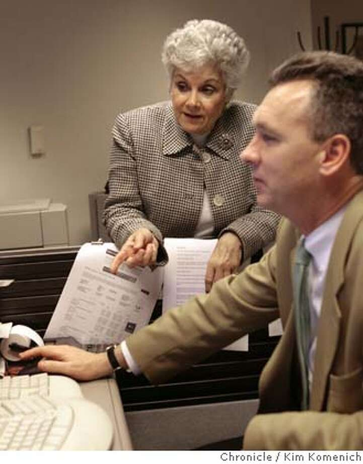 Jean Eddy, left, runs a small temp agency called The People Connection. She is pictured with People Connection Operations Manager John Dorning, right. Although her company provided other beneftis such as vacation time to their temps, they never provided paid sick days before the law took effect. Eddy says that sick time has worked out pretty smoothly at her company after an initial struggle to set up the tracking system.  Photo by Kim Komenich/The Chronicle Photo: KIM KOMENICH