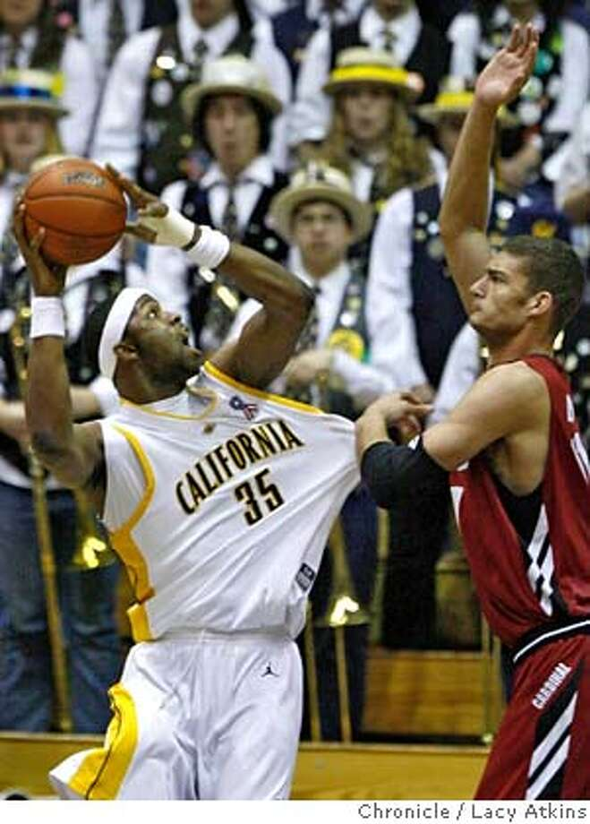 Cals DeVon Hardin goes up against Stanford's Brook Lopez for a basket in the first half of the game, Saturday January 26, 2008, in Berkeley, Ca. (Lacy Atkins San Francisco Chronicle) Photo: Lacy Atkins