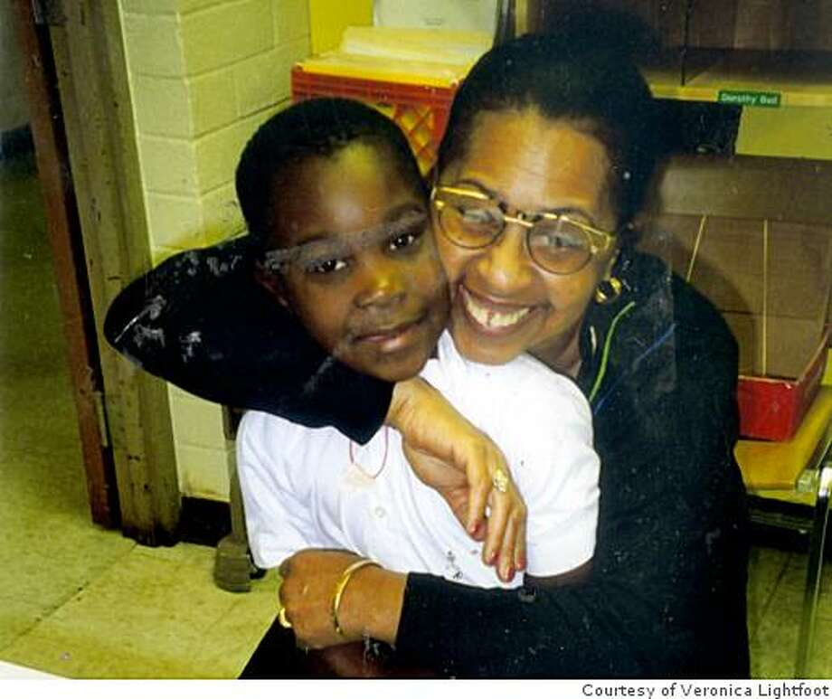 Jerrell J. Green with his school counselor, Veronica Lightfoot at Washington Carver Elementary School in San Francisco, circa 1997. Photo: Courtesy Of Veronica Lightfoot