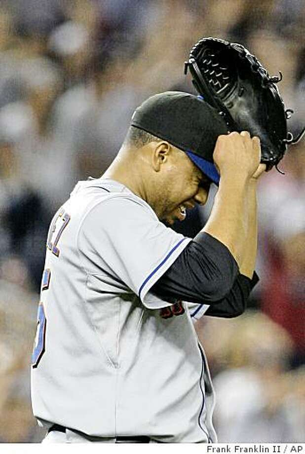 New York Mets relief pitcher Francisco Rodriguez reacts to teammate Luis Castillo's fielding error during the ninth inning of an interleague baseball game Friday, June 12, 2009,  in New York. The Mets lost the game 9-8.  (AP Photo/Frank Franklin II) Photo: Frank Franklin II, AP