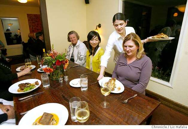 d.29 south_010_LH.jpg Left to right--Prudy Noon from Martinez, Kumi Yamaguchi from Japan, Erin Dowd from Lafayette at Gigi, a new restaurant in Lafayette done by Jeff Amber, a well known Bay Area chef.  Liz Hafalia/The Chronicle/Lafayette/1/4/08  **Jeff Amber, Prudy Noon, Kumi Yamaguchi, Erin Dowd cq  Ran on: 01-27-2008  Prudy Noon, Kumi Yamaguchi and Erin Dowd anticipate their meals at Gigi, which is run by Chronicle Rising Star chef Jeffrey Amber. Photo: Liz Hafalia