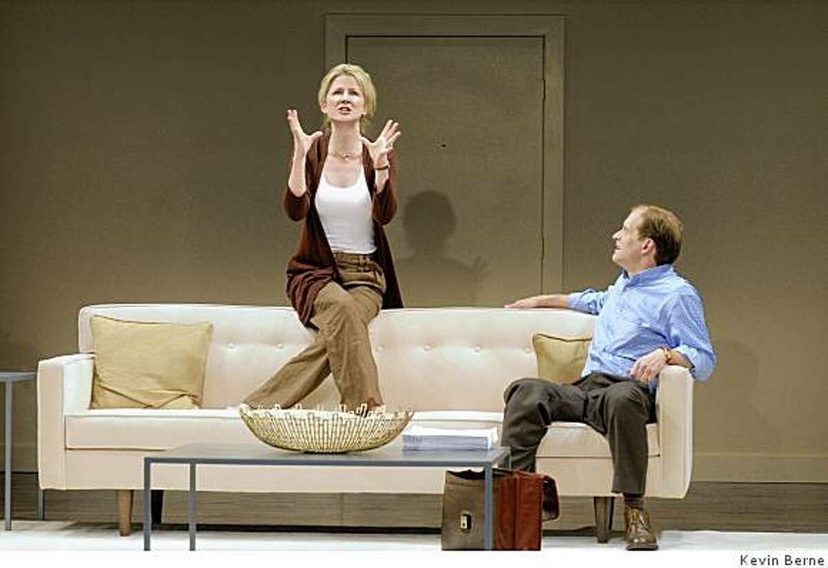 Anthony Fusco (right) as Peter has an intimate conversation with his wife Ann (Rene Augesen, Rene takes an accent / over the final e) before he heads for the park in Edward Albee's