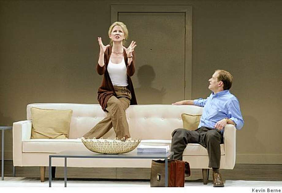 """Anthony Fusco (right) as Peter has an intimate conversation with his wife Ann (Rene Augesen, Rene takes an accent / over the final e) before he heads for the park in Edward Albee's """"At Home at the Zoo"""" at ACTl Photo: Kevin Berne"""