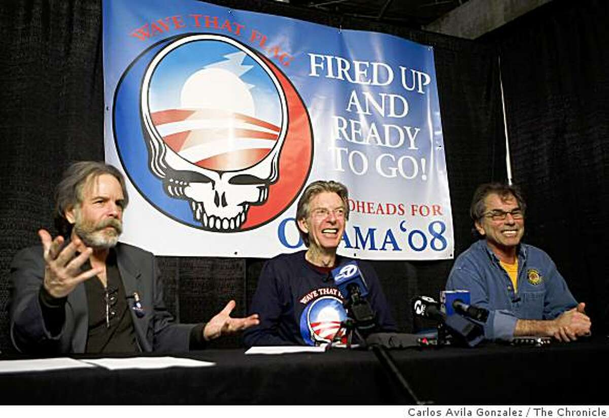 Bob Weir, Phil Lesh and Mickey Hart of the Grateful Dead speak at a press conference backstage at the Warfield Theater before a rally for Barack Obama in San Francisco, Ca., on Monday, February 4, 2008. These fellows haven't played together in four years and don't even really speak. The gig was arranged by email. Their brief performance together tonight will be widely heralded in Dead circles.