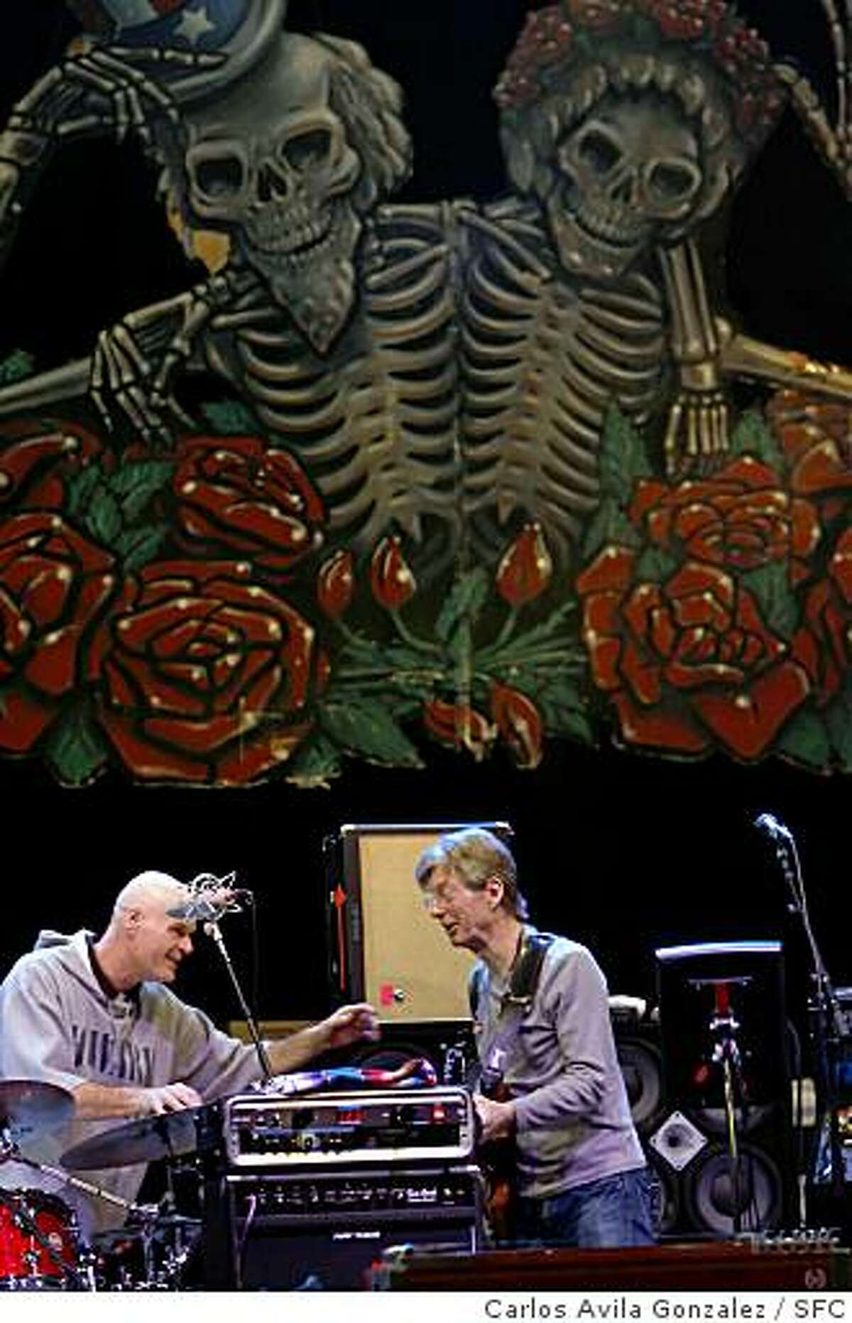 Phil Lesh, right, on stage during a sound check prior to a benefit show for presidential candidate, Barack Obama at the Warfield Theater in San Francisco, Ca., on Monday, February 4, 2008. Bob Weir, Phil Lesh and Mickey Hart of the Grateful Dead speak at a press conference backstage at the Warfield Theater before a rally for Barack Obama in San Francisco, Ca., on Monday, February 4, 2008. These fellows haven't played together in four years and don't even really speak. The gig was arranged by email. Their brief performance together tonight will be widely heralded in Dead circles.Photo taken on 2/4/08, in San Francisco, CaPhoto by Carlos Avila Gonzalez/The San Francisco Chronicle
