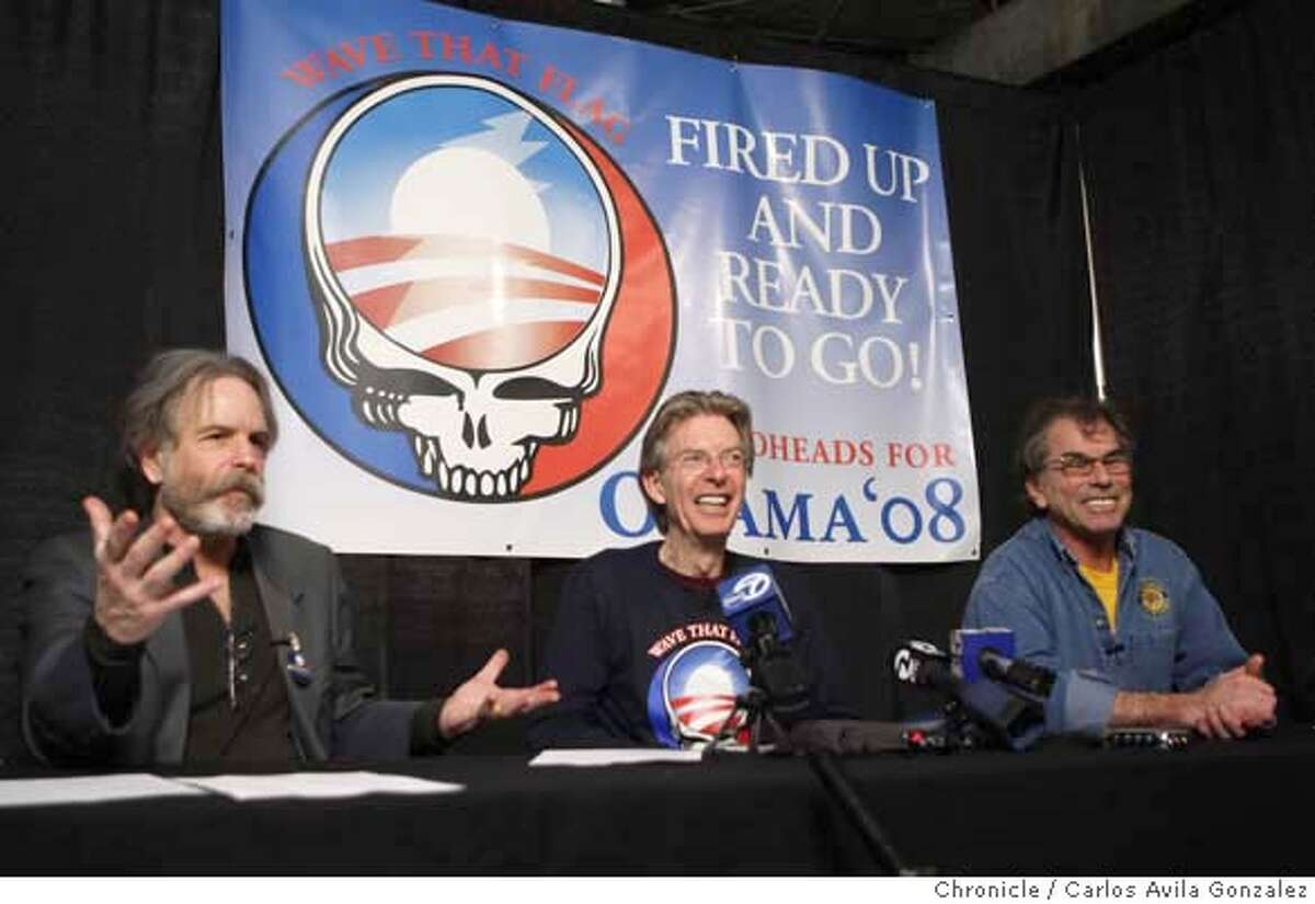 DEAD05_006_CAG.JPG Bob Weir, Phil Lesh and Mickey Hart of the Grateful Dead speak at a press conference backstage at the Warfield Theater before a rally for Barack Obama in San Francisco, Ca., on Monday, February 4, 2008. These fellows haven't played together in four years and don't even really speak. The gig was arranged by email. Their brief performance together tonight will be widely heralded in Dead circles. Photo taken on 2/4/08, in San Francisco, Ca Photo by Carlos Avila Gonzalez/The San Francisco Chronicle NORTHERN CALIF. MANDATORY CREDIT: PHOTOG AND SAN FRANCISCO CHRONICLE. MAGS OUT, NO SALES