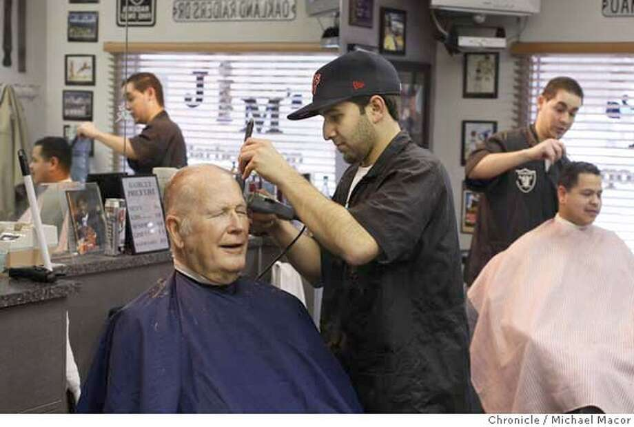 voter_063_mac.jpg Barbers Justin Gomez, left and Michael Castillo, right with cutomers, Leland Ashford, left and Luis Mendoza, right, run the J&M Barber Shop in downtown Patterson, Ca. With the California Primary just days away we travel to the Central Valley and the town of Patterson, to find out what people are thinking about the upcoming elections. What concerns and what changes they have in mind. Photographed in, Patterson, Ca, on 1/29/08. Photo by: Michael Macor/ San Francisco Chronicle Mandatory credit for Photographer and San Francisco Chronicle No sales/ Magazines Out Photo: Michael Macor