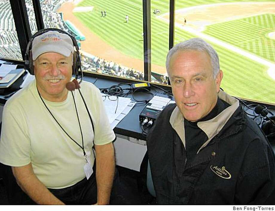 Marty Lurie (left) with Ken Krach of the A's broadcast team.. Photo: Ben Fong-Torres