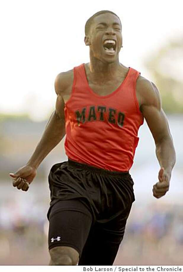San Mateo High school Kendall Spencer celebrates his win in the boys 100 meter dash at the CCS Track and Field Championship in Gilroy, Ca., Friday, May 29, 2009. Photo: Bob Larson, Special To The Chronicle