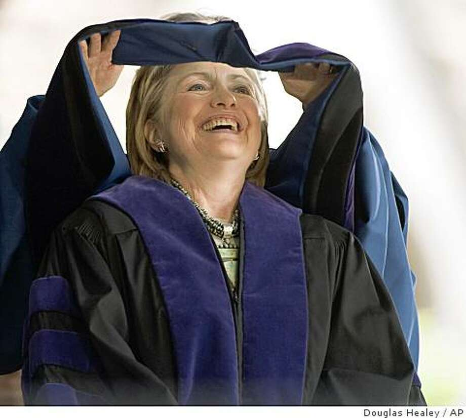 Secretary of State Hillary Rodham Clinton receives an honorary Doctor of Laws degree at the Yale University commencement in New Haven, Conn. Monday, May 25, 2009. Clinton is a Yale Law School graduate and met Bill Clinton there in 1970. (AP Photo/Douglas Healey) Photo: Douglas Healey, AP