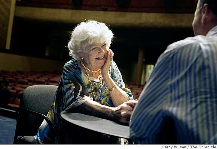 Actress Barbara Hale, center, smiles as she speaks with fan Hayden Hicks, right, as she signs autographs at the Rafael Theater in San Rafael, Calif., on Saturday, May 16, 2009. Photo: Hardy Wilson, The Chronicle