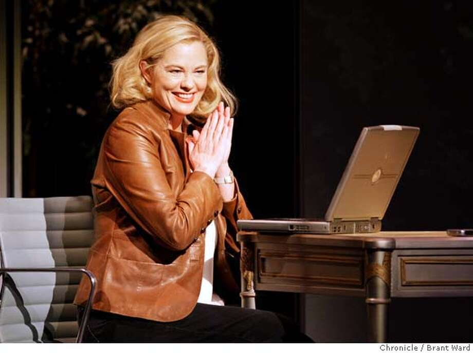 """Cybill Shepherd smiles to herself as she begins computer dating. Cybill Shepherd in a one-woman show called """"The Curvy Widow"""" at the Post Street Theatre in San Francisco.  (By Brant Ward/San Francisco Chronicle) Photo: Brant Ward"""