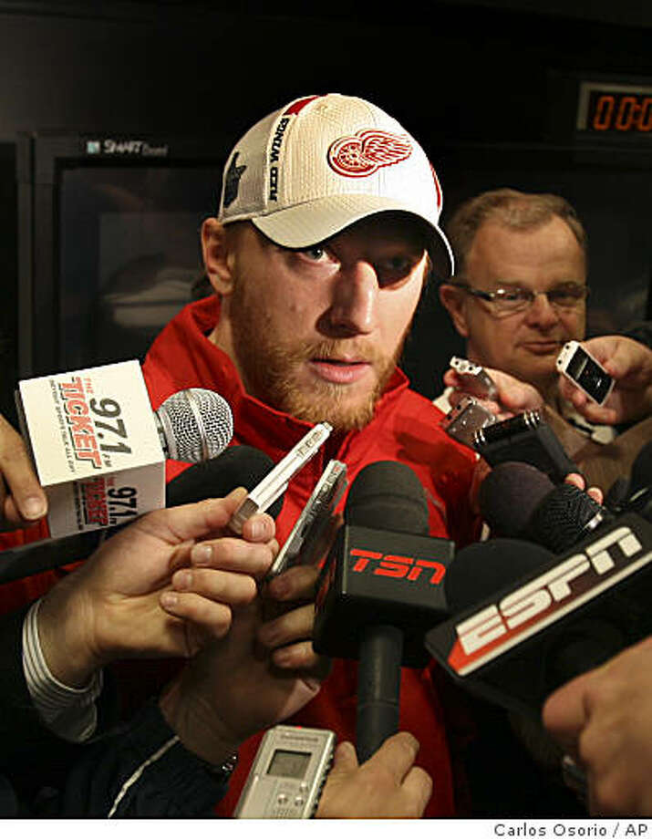 Detroit Red Wings winger Marian Hossa (81) of Slovakia, addresses the media  in Detroit, Friday, June 5, 2009. The Red Wings face the Pittsburgh Penguins in Game 5 of the Stanley Cup Finals in Detroit on Saturday, with the best-of-seven series tied at two games each.  (AP Photo/Carlos Osorio) Photo: Carlos Osorio, AP